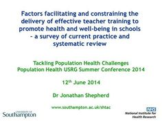 #newbook: Factors facilitating and constraining the delivery of effective teacher training to promote health and well-being in schools : a survey of current practice and systematic review.  http://solo.bodleian.ox.ac.uk/OXVU1:LSCOP_OX:oxfaleph020752121