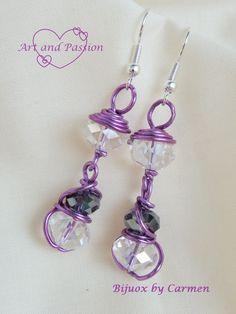 """orecchini """"lanternine"""" realizzati con filo di alluminio color glicine"""