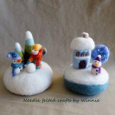 Needle felted Winter wonderlands Pincushion by FunFeltByWinnie, $38.00