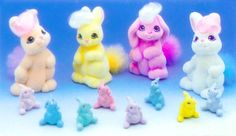 Li'l Litters were produced by Hasbro in Year 9 of the My Little Pony line (1990-91). There were three different animals (rabbits, cats and dogs) with four different sets in each. Each set included one adult and two babies.