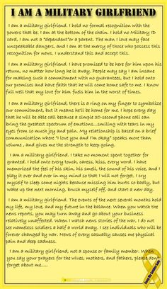 I am no longer & a girlfriend& I am a wife. But all gfs to a soldier r jus a wife in waiting. Bc no female wld go thru the pain if she wasn& in it for the long haul. I love my sailor! Military Girlfriend Quotes, Air Force Girlfriend, Marines Girlfriend, Military Couples, Navy Girlfriend, Military Quotes, Military Love, Navy Wife, Deployed Boyfriend