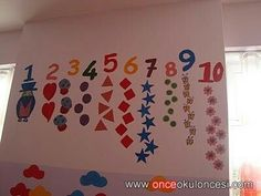 classroom wall number activities for preschool Class Decoration, School Decorations, Classroom Walls, Classroom Decor, Hobbies And Crafts, Diy And Crafts, Math Lab, Toddler Classroom, School Programs