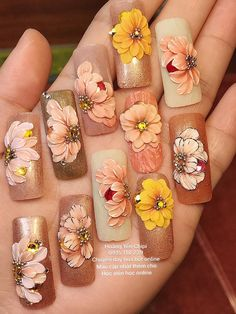 We know you love your weekly mani-pedi, but aren't you getting a little bit tired of the same old pale pinks, nudes, or black? If you're feeling daring you could always try a bright red or blue, but w 3d Nail Art, 3d Acrylic Nails, Stiletto Nail Art, Floral Nail Art, Nail Art Hacks, 3d Nails, Pastel Nails, Dope Nails, Bling Nails