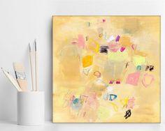 Beach painting, Small Abstract painting, Original Art, Canvas Art, sand yellow coastal beach decor by Duealberi