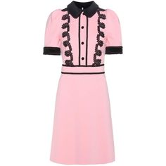 Gucci Lace-Trimmed Crêpe Dress ($2,300) ❤ liked on Polyvore featuring dresses, pink, gucci, gucci dress, lace trim dress, crepe dress and pink dress