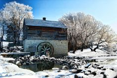 Grant's Mill by Gail Lamm, Winnipeg, Manitoba. Old Grist Mill, My Family History, Cuthbert, Winter Sports, The Great Outdoors, Scenery, Places To Visit, Greeting Cards, Canada