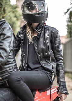 Love the leather jacket, very classic. #ridinginstyle #chopperexchange #ladyriders
