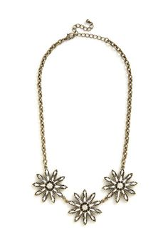 Brilliant Blossoms Necklace - Solid, Party, Gold, Rhinestones, Special Occasion, Cocktail, Girls Night Out