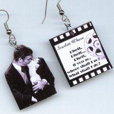 Gone with the Wind Earrings Film Reel QUOTE Scarlett Rhett