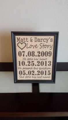 Buy Framed Burlap Print - Important Date Frame - Our Love Story - Stole his last name - Anniversary - Customizable - Dates - Family - 8x10 by dideschdelights. Explore more products on http://dideschdelights.etsy.com