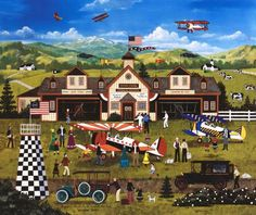 Franklin Field's First Annual Air Fair - Limited Edition Lithograph on Paper by Jane Wooster Scott