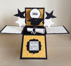 Handmade 2020 Graduation Card in a box popup greeting card. Graduation Cards Handmade, Graduation Diy, Graduation Quotes, Graduation Decorations, Graduation Centerpiece, 3d Cards, Pop Up Cards, Cap Decorations, Exploding Boxes