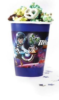 Miles from tomorrowland party cups - print, cut and stick this free printable template to plain colored party cups to match the cups with birthday theme.
