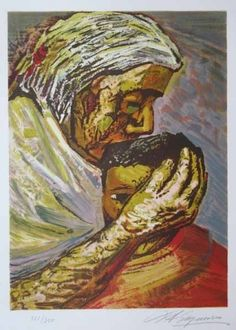 Lithograph - David alfaro Siqueiros - Mother and Child (from