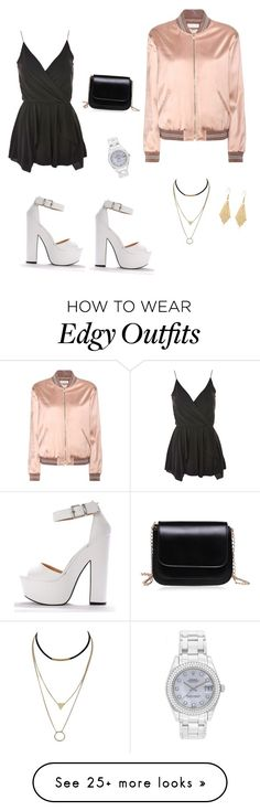 """Edgy Chic"" by burnsemily on Polyvore featuring Topshop, Yves Saint Laurent and Rolex"