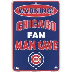Chicago Cubs Fan Man Cave Metal Sign 8 x Embossed aluminum Fan Man Cave sign in team colors Permanent baked on finish 8 x 12 inches Two mounting holes Officially licensed merchandise Man Cave Metal, Man Cave Art, Man Cave Tin Signs, Cubs Merchandise, Chicago Cubs Fans, Chicago Bears, Cubs Win, Parking Signs, Chicago White Sox