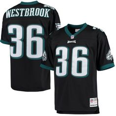 7660ad670 Men s Philadelphia Eagles Brian Westbrook Mitchell  amp  Ness Black Retired  Player Replica Jersey Eagles Throwback