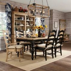 Boho Dining Room Decor - How do you add color to a dining room? Boho Dining Room Decor - How can I make a small dining room look bigger? Farmhouse Dining Room Table, Farmhouse Dining Chairs, Kitchen Chairs, Dining Table, Dining Room Colors, Dining Room Sets, Dining Room Furniture, Best Leather Sofa, Kincaid Furniture