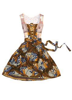Bavarian Dirndl Dress made of African fabrics with paillettes. Noh Nee Dirndl á l'Africaine