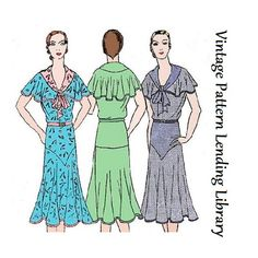 1930s Ladies Day Dress With Bertha - Reproduction Sewing Pattern #T0255