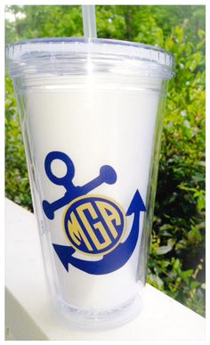 Monogram Anchor Tumbler with quote by FourWinks on Etsy, $7.00