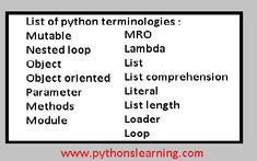 Learn different python terminologies in python Create List, Always Remember, Different, Comprehension, Python, Learning, Studying, Teaching