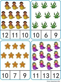 Count and Clip Cards: Mermaid (Numbers : Count and Clip Cards: Mermaid (Numbers Kindergarten Math Worksheets, Kindergarten Activities, Teaching Kids, Kids Learning, Montessori Math, Preschool Writing, Math For Kids, Math Games, Math Centers