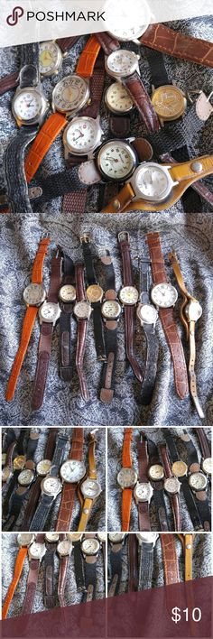 10 watch repair lot! Craft, job watches leather Lot of 10 vintage to now watches -these do not work and are for repair/craft - sold as is - Various brands/ materials as pictured All will have some condition issues, like wear etc. (May have a light smoke odor, came from a smokers estate) Clearing out some back inventory this week! Price firm.  POSHA8838WATCH1888 Vintage Accessories Watches