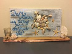 Sea Shell Art Sea Shell Art Beautiful gray wash with blue metallic tones flow through this handmade Seashell Display, Seashell Art, Seashell Crafts, Starfish, Sea Crafts, Diy And Crafts, Seashell Projects, Beach Gifts, Beach Art