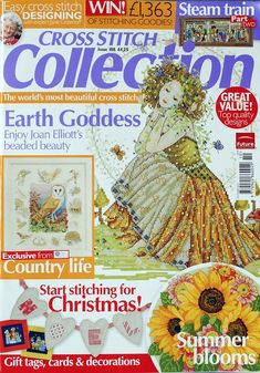 Cross Stitch Collection 188 2010 Earth Goddess; train station, critters, cards, alphabet, woodpecker