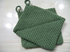 Pot Holders Sage Green Crocheted Double Thick by TimeForCrochet, $10.00
