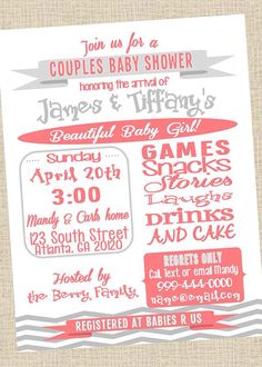 Couples Baby Shower Invitation - Digital File on Etsy, $10.00