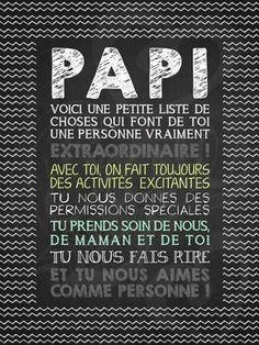 Affiche personnalisée pour la fête des pères Papi extraordinaire! | 15,00$ #lacraieco #chalkboard #fetedesperes