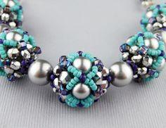 Beaded bracelet Blossoms: tubular right angle weave, netting