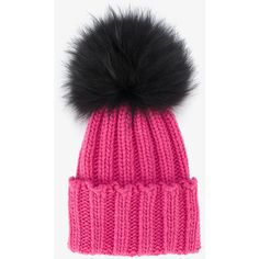 56a032d35a4 Inverni Pink Ribbed Cashmere Hat With Fur Pom Pom ( 250) ❤ liked on Polyvore