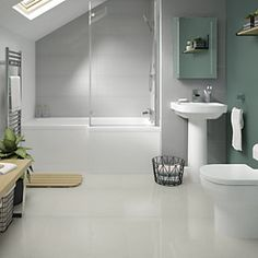Phoenix Bathroom Suite - Toilet, Basin, Right-hand Shower Bath, Screen & Bath Panel Grey Wall Tiles, White Bathroom Tiles, Ceramic Wall Tiles, Bathroom Floor Tiles, Wall And Floor Tiles, Grey Bathrooms, Modern Bathroom, Wickes Bathroom Tiles, Porcelain Tile