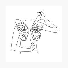 Butterfly Line Art, Butterfly Drawing, Minimalist Drawing, Minimalist Art, Line Art Tattoos, Small Tattoos, Outline Art, Tattoo Outline, Outline Drawings
