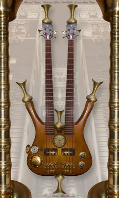 Warwick Fortress Masterman Dual-Neck Electro-Acoustic Bass Guitar design incorporates exotic hardwoods, bell brass components, and precision gold timepieces, all craftily combined by hand by Kevin Barnard.