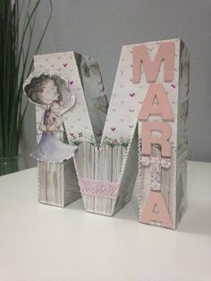 Letra decorada M Scrap Painted Letters, Wooden Letters, Decoupage, Baby Shawer, Shadow Box, Grandkids, Baby Gifts, Crafts For Kids, Projects To Try