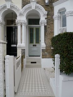 Classic Victorian Front Garden Design Battersea Clapham Balham London Contact anewgarden for more information Front Path, Victorian Front Garden, Victorian Mosaic Tile, London House, House Entrance, Victorian Front Doors, House, Front Garden Design, Victorian Terrace House