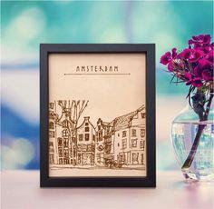 Lik178 Leather Engraved Netherlands Amsterdam street Honeymoon third anniversary personalized gift