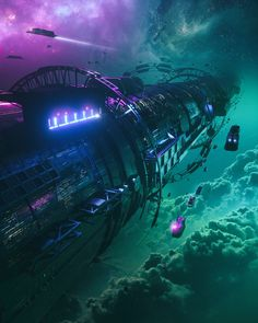 Beautiful Science Fiction, Fantasy and Horror art from all over the world. Cyberpunk City, Sci Fi Environment, Star Wars, Futuristic Art, Lost In Space, Science Fiction Art, Fantasy Landscape, Landscape Concept, Space Travel