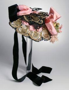 paris bonnet 1890 | 1880 Lady's Bonnet Culture: French Medium: metallic thread