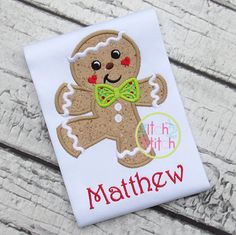 Dancing Gingerbread Boy Christmas Embroidered Shirt by MadHat106
