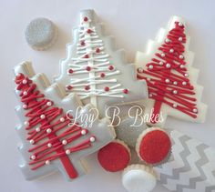 These are Delicious Vanilla Sugar Cookies, beautifully iced in White, Silver and Red with shiny Vanilla Flavored Royal Icing and are always made