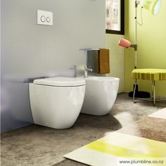 Sfera by Catalano is a compact, contemporary toilet solution characterised by its soft design and circular form. Available as wallhung with a unique concealed fixing system, floor mount in 2 designs and back to wall with a one-piece cistern this range sui Contemporary Toilets, Bathtub, Flooring, Bathrooms, Design, Home, Products, Standing Bath, Bathtubs