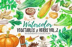 Best food illustrations for businesses like food menu, blogging, graphic design, poster. More #watercolor #illustrations for your #brand you can download here ➝ https://creativemarket.com/graphics/illustrations?u=BarcelonaDesignShop