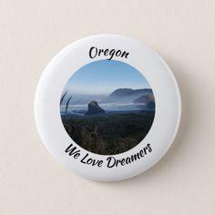 Scenic Oregon Coast - We Love Dreamers Pinback Button - love gifts cyo personalize diy