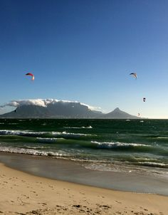 Dolphin Beach's kite surfers and Table Mountain view. Table Mountain, Mountain View, The Beautiful Country, Beautiful Things, Travel Icon, Kitesurfing, Beach Scenes, Nature Pictures, Cape Town