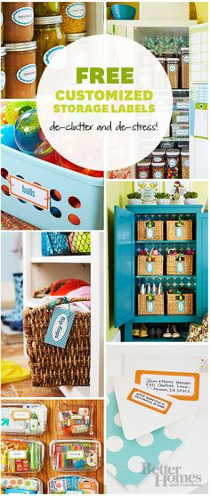 Labels make everything cuter! Download the handy (and free!) labels here: http://www.bhg.com/decorating/storage/organization-basics/free-printable-storage-labels/